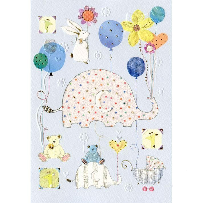 Открытка Слонёнок (голубая) каталки альтернатива башпласт слонёнок