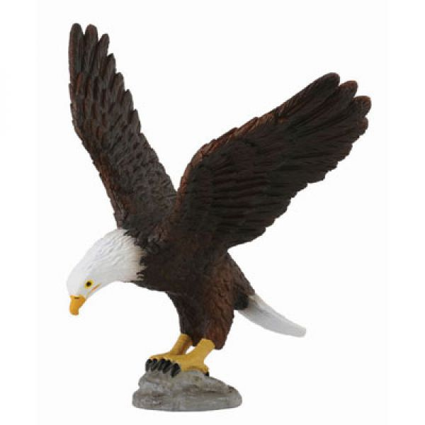Фигурка Американский лысый орел, высота 10.5 смФигурка Американский лысый орел это отличное дополнение для коллекции любителей фауны, настольное пособие для познания зоологии, украшение стола или полки. Также фигурка может служить игрушкой детям, так как она из пластика. Фигурка орла, изображенного с распростертыми крыльями и будто только что приземлившегося не просто натуралистична, она точная миниатюрной копией миниатюрной птицы.<br>