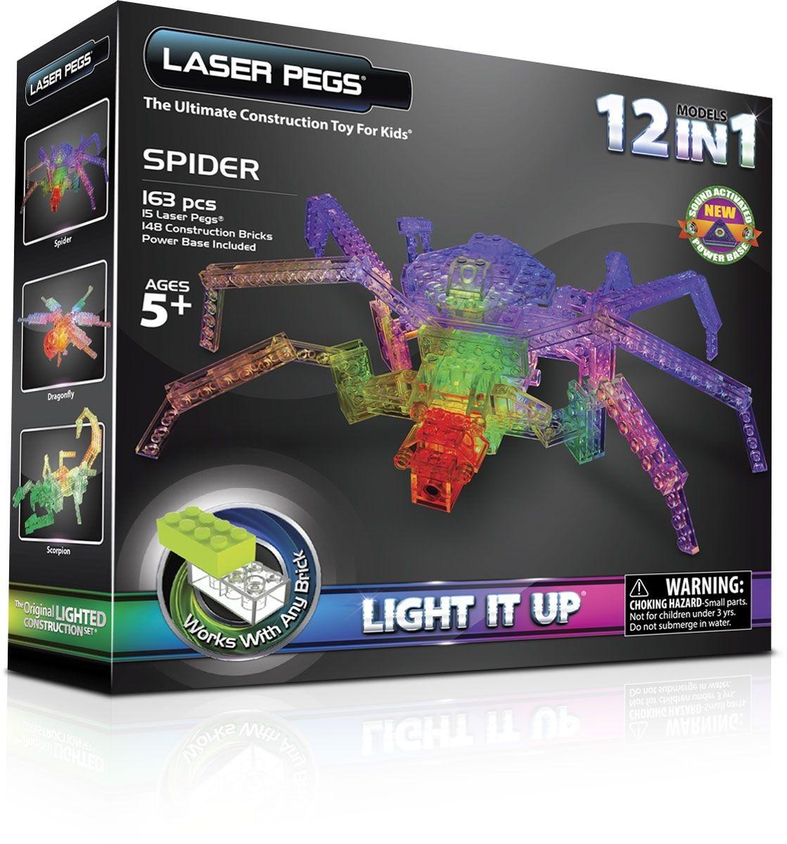 Конструктор Laser Pegs Набор 12 В 1 Паук  laser pegs конструктор динозавры 24 в 1