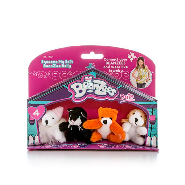 Beanzeez Мини плюш в наборе (Мышка, Котик, Медведь, Песик)Новинка 2016 года – набор из четырех миниатюрных мягких игрушек в одной красочной упаковке в виде домика – отличный выбор подарка для девочки. Эти малыши настолько очаровательны и миловидны, что непременно станут любимыми игрушками их счастливой обладательницы и даже могут стать предметом коллекционирования.Симпатичные крошечные плюшевые зверюшки Beanzees – это игрушки «три в одном». Их приятно держать в руках, увлекательно коллекционировать, а кроме того – их можно соединять между собой с помощью липучек и носить как оригинальное украшение на шею или на руку.По легенде эти крошечные животные обитают все вместе в волшебном лесу под названием Бинзилэнд, в котором всегда ярко светит солнышко и цветут растения.Размер каждой игрушки не превышает 5 см, они выполнены из мягкого гипоаллергенного материала, набивка – синтетическое волокно, в том числе специальные пластмассовые гранулы, делающие эту игрушку замечательным антистрессом. На лапках зверюшек располагаются маленькие текстильные липучки, с помощью которых игрушки можно соединять друг с другом.  В линейке игрушек Бинзис более 20 разных персонажей! Вы можете собрать их все!<br>