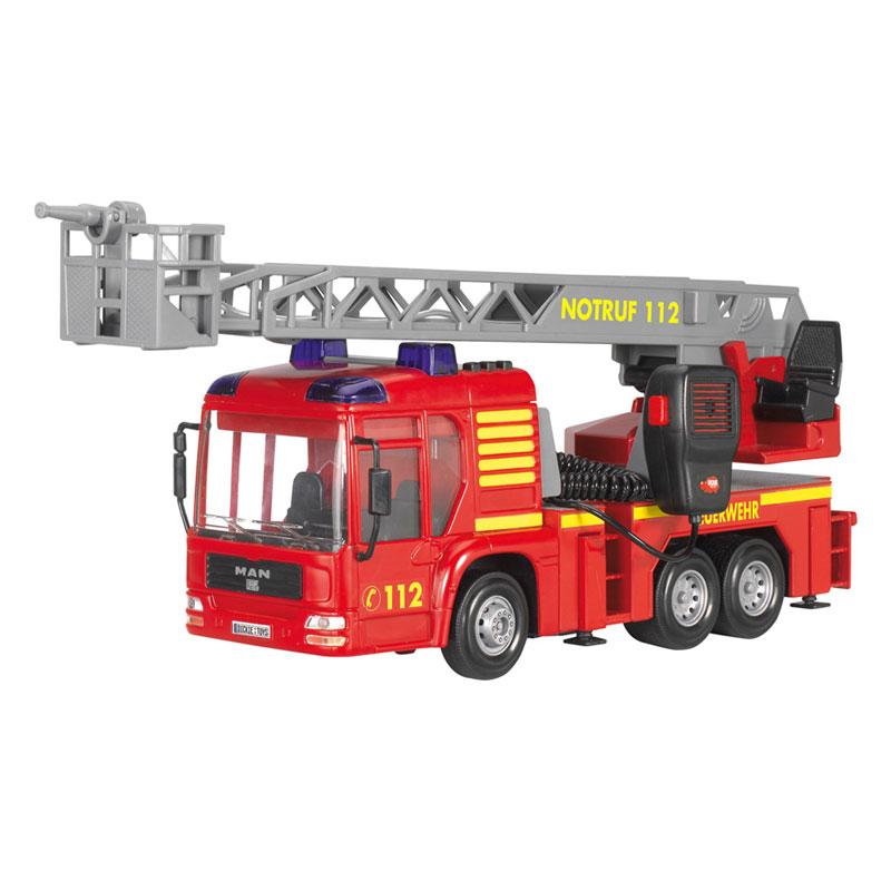 Пожарная машина (свет, звук, с водой), 43 смРеалистичная масштабная модель пожарной машины наглядно и обстоятельно познакомит ребенка с работой пожарного. Модель имеет тщательно проработанный экстерьер и оснащена звуковыми и световыми эффектами, сверху на кабине водителя установлена мигающая сирена. По бокам прицепа имеются выдвижные опоры, установлена рация с громкоговорителем. Лестница выдвигается и вращается на 360 градусов, а брандспойт оснащен функцией подачи воды: можно залить в специальный резервуар воду, которая будет выстреливать при нажатии на кнопку.Возраст: от 3 летДля мальчиковЦвет: красный, серый, желтый.Комплектация: пожарная машина, рация.Наличие батареек:  входят в комплект.Тип батареек: 3 x AA / LR6 1.5V (пальчиковые).Материалы: пластик.Размер упаковки: 40 х 20.1 х 15.6 см.Размер игрушки: 43 см.<br>