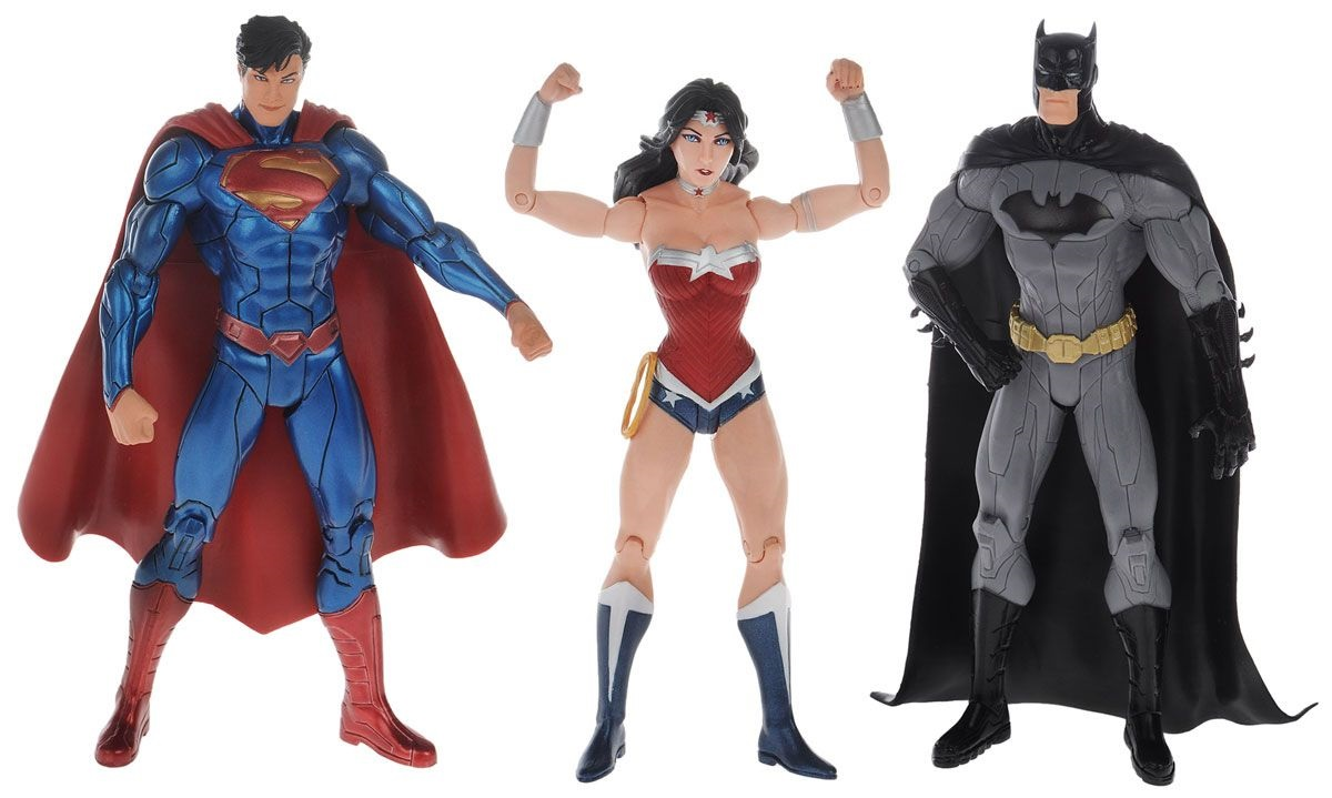 DC Comics Набор фигурок Batman, Wonder Woman, Superman 3 шт.Набор фигурок самых известных супергероев Лиги Справедливости: Бэтмена, Супермена и Чудо-женщины.<br>