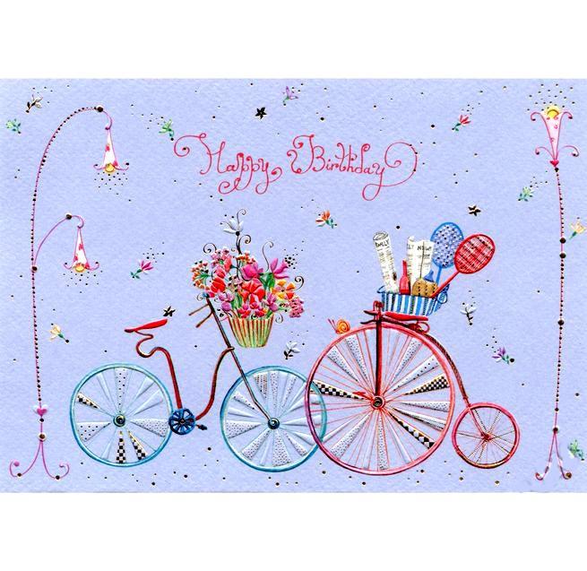 Открытка Два велосипедаСтильная поздравительная открытка Два велосипеда от производителя Turnowsky станет прекрасным памятным подарком для Ваших родных, близких и друзей.Превосходные дизайнерские открытки от всемирно-известного бренда Turnowsky специально были созданы для того, чтобы воспоминания о самых важных событиях оставались в памяти на всю жизнь.Изящная открытка Два велосипеда замечательно подойдет для поздравления с Днём Рождения. На лиловом фоне открытки изображено два ретро велосипеда с цветами и летней корзиной для пикника. Открытка украшена надписью Happy Birthday. Отдельные детали открытки украшены золотистым тиснением.В комплект с открыткой входит подарочный конверт с логотипом бренда.<br>