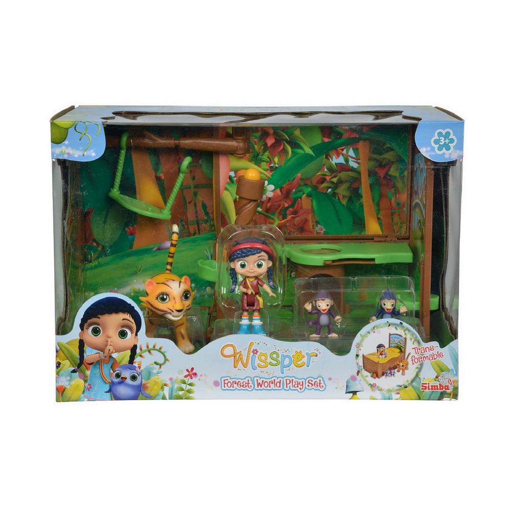 Игровой мини-набор Висспер Мир лесовИгровой мини-набор Мир лесов линейки Висспер изготовлен компанией Simba по мотивам известного детского анимационного мультсериала. В набор входят маленькая подвижная кукла Висспер и фигурки ее друзей, а также целая игровая композиция. Маленькие обезьяны могут кататься на качелях, прыгать по деревьям и весело проводить время. Висспер - необычная девочка, она способна понимать язык зверей, поэтому во всех ее путешествиях ее сопровождают друзья.Особенностью данного игрового набора является возможность трансформировать игровую площадку в кровать, что позволяет красиво сложить игрушки на полке, когда ребенок не играет с ними. Все предметы изготовлены из качественного пластика.<br>