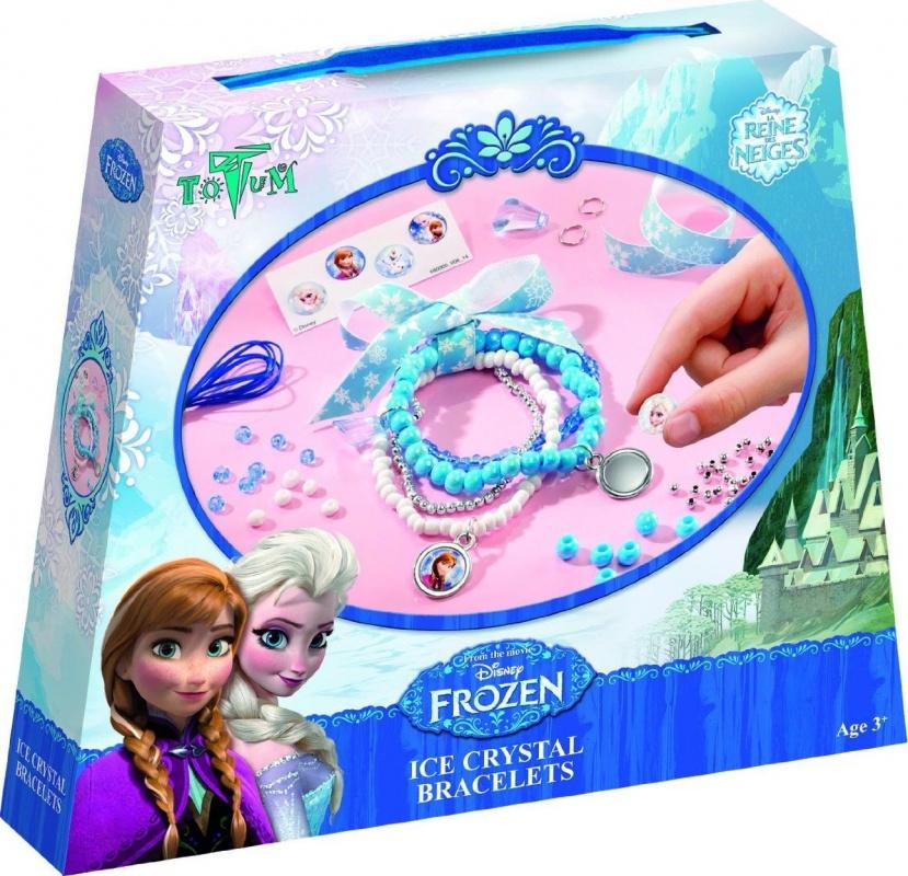 Набор для творчества Totum Frozen mini crystal ice ringsНабор для создания браслетов Холодное сердце Кристаллы льда. В набор входят: большие круглые бусинки, разноцветные бусинки, серебристые пластиковые бусинки, пластиковый амулет в виде сосульки, эластичная нейлоновая лента, ленточка Frozen (Холодное сердце), металлические кольца, металлические медальоны, наклейки. Что ты сможешь сделать: 4 браслета.<br>