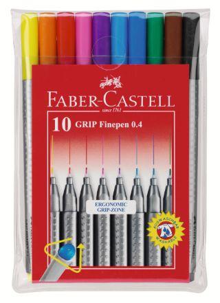 Капиллярная ручка GRIP, 0,4 мм., набор цветов в футляре, 10 шт.