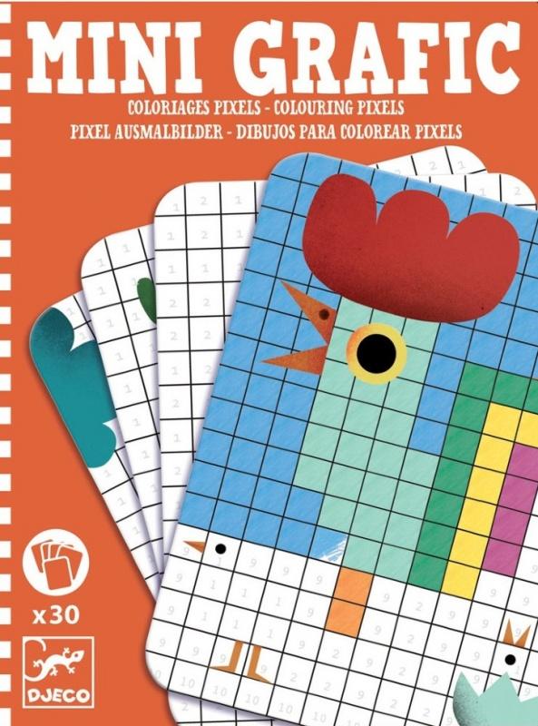 Мини-игра раскраска Djeco ПикселиИнтересная детская игра в мини формате Раскраска Пиксели от Джеко, которую удобно взять с собой в путешествие или на дачу. В набор входит 30 карточек, которые необходимо раскрасить согласно номерам, чтобы получилась единая картинка.Игра раскраска прекрасно развлечет вашего ребенка в дороге или во время путешествия, её всегда можно взять с собой в гости или на прогулку.<br>