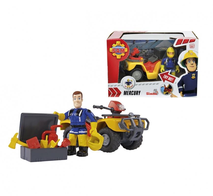 Игровой набор Пожарный Сэм - Квадроцикл, фигурка, аксессуары (со световыми эффектами)Игровой набор Пожарный Сэм от Simba представляет собой квадрацикл, фигурку и его принадлежности в ящике. Это веселый и жизнерадостный спасатель по имени Сэм. Он очень любит свою героическую профессию, которая требует много мужества. У него есть служебный квадрацикл, и аксессуары. Все, что нужно Сэму, всегда у него под рукой.Игрушки данного набора исполнены в превосходном качестве, а светящиеся фары и синий предупреждающий огонек на квадрацикле сделает набор еще интереснее для игр. На колесах резиновые шины, а у фигурки пожарника руки, ноги и голова подвижны. Также он может держать в руках инструменты и свою каску. Это придает реалистичность игрушке и обогащает сюжетно-ролевую игру.Возраст: от 3 летДля мальчиковКомплектация: квадроцикл, фигурка Сэма, коробка для инструментов, 3 инструмента, 2 рации, аптечка, огнетушитель.Наличие батареек:  входят в комплект.Тип батареек: 2 х АА / LR6 1.5V (пальчиковые).Материалы: пластик, металл.Размер упаковки: 11 х 16 х 13 см.<br>