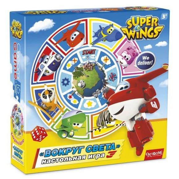 SuperWings Настольная игра Карусель-Лото Вокруг света+пазл 16 деталей 02992Вокруг света от бренда Origami – это увлекательная настольная игра, а также яркий пазлл. В набор входит карусель-лото с изображением любимых детских героев из мультсериала Супер крылья. Все картинки очень яркие и красочные, благодаря чему детям будет очень интересно разглядывать их. Кроме того, ребятам понравится собирать пазл. Во время этого процесса они смогут тренировать усидчивость, а также улучшать внимание и логику.<br>