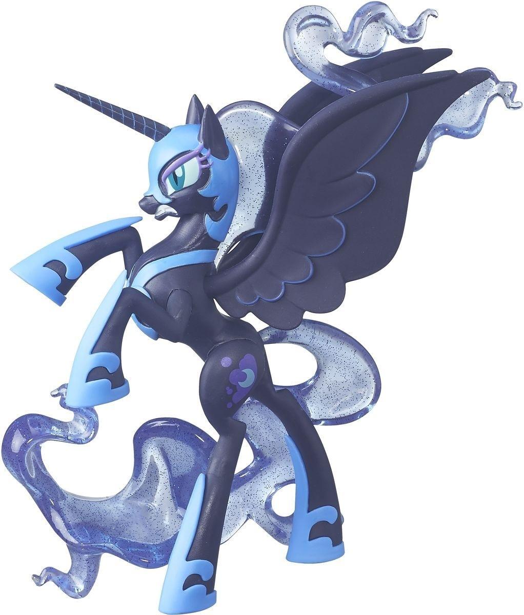 MLP Коллекционные фигурки «Принцесса»Фигурка My Little Pony Nightmare Moon изображает темное альтер-эго принцессы Луны. Принцесса отвечала за восход луны в Эквестрии до тех пор, пока в ней не пробудилась злая сторона. Злая Лунная пони (она же Найтмер Мун) захотела вечной ночи и единоличного правления.Фигурка из серии Стражи гармонии выполнена в атакующей позе. Можно представить, как она нападает на свою сестру, принцессу Селестию, в попытках завладеть троном.У фигурки Найтмер Мун проработаны все детали, включая подходящее напряженной ситуации выражение мордочки. Грива и хвост пони выполнены из полупрозрачного пластика с блестками внутри, так что они напоминают звездное небо. Фигурка выполнена очень качественно и выглядит словно живая.<br>