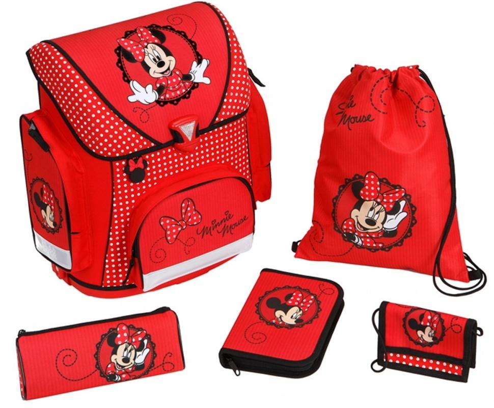 Ранец с наполнением Undercover Minnie mouse, 5 позицийОртопедический ранец с наполнением (мешок для обуви, кошелек на ручке-завязке, жесткий пенал с канцтоварами, мягкий пенал). Плотная спинка, удобные лямки, ножки-подставки. 3 больших отделения застегиваются на клапан. В пенале фломастеры, цветные карандаши и простой карандаш, ластик, точилка, линейка.<br>