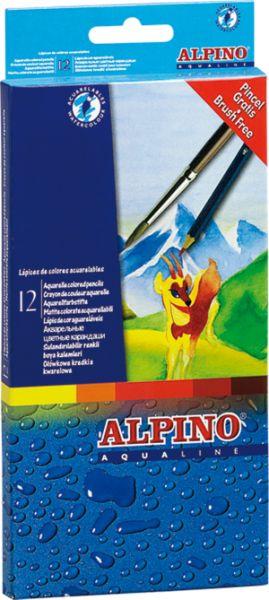 Цветные шестигранные акварельные карандаши Alpino Aqualine, 12 цветов alpino 12 цветов alpino альпино