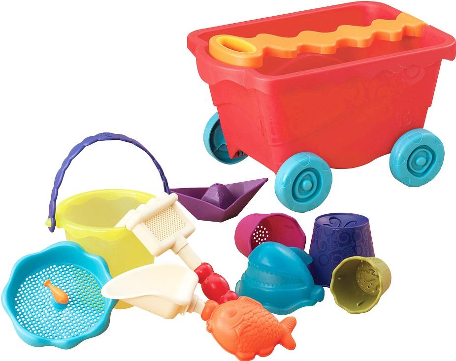 Набор для песка B.Summer ТележкаТележка с откидной ручкой и всё самое необходимое для игр в песке. Копать, мастерить фигурки, катать тележку - всё это легко и просто с набором от Battat. Ура-а-а-а! Лето! Побросаем все в тележку и быстрей на пляж! В состав набора входит: тележка с забавной ручкой, сито, лодка, форма рыбка, грабли, лопата, мини- ведёрко.Особенности: Яркие цвета Безопасно для здоровья Для игр в песочнице и не только Развивает фантазию В тележке можно перевозить все предметы<br>