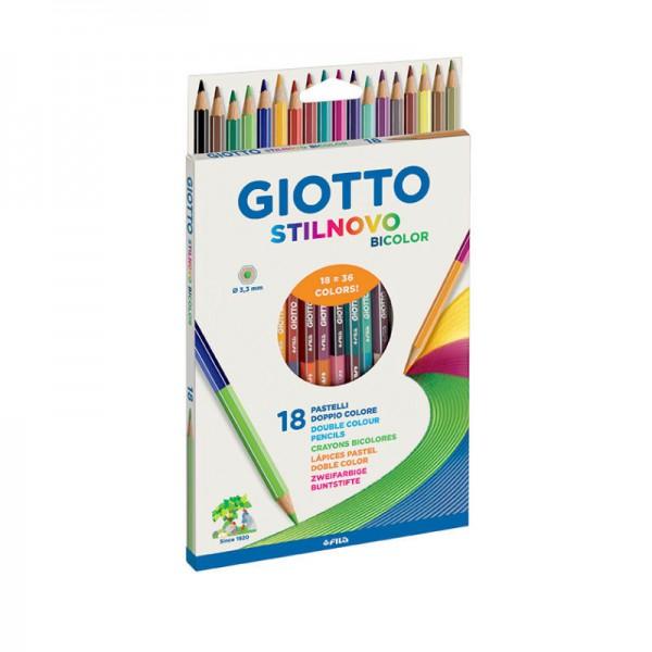 Цветные карандаши GIOTTO STILNOVO BICOLOR двусторонние 18 штGiotto STILNOVO BICOLOR — это набор высококачественных двусторонних карандашей с прочным стержнем.Гексагональные деревянные карандаши с серебряным нанесением по ребру грани.Толщина грифеля 3,3 мм.В упаковке 18 карандашей (36 цветов).<br>