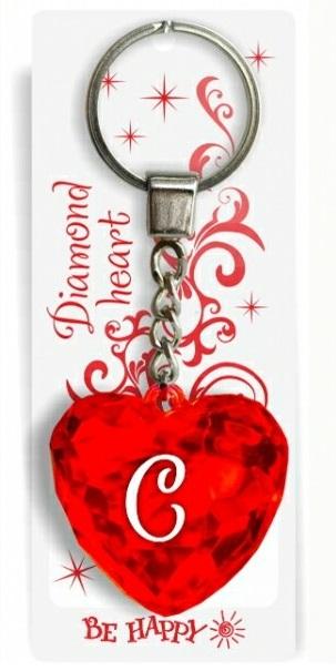 """Брелок Би-Хэппи Диамантовое сердечко С, красныйИменной брелок """"Диамантовое сердце"""" С, красныйСостав: пластик, металл.Размер сердца: 4х4х2см.Длинна цепочки — 4 см.Диаметр кольца — 2 см.<br>"""