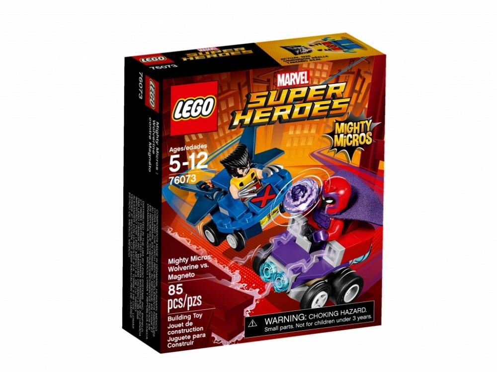 Конструктор Lego Super Heroes Mighty Micros: Росомаха против МагнетоСтань свидетелем динамичной схватки Людей Икс: Росомаха против Магнето. Росомаха рвётся в бой на своём летательном аппарате! Главное уворачиваться от гигантского магнита Магнето! Но им придётся сразиться врукопашную: когти Росомахи и электромагнитные импульсы Магнето. Что окажется сильнее?Информация о набореАртикул: 76073Производитель: LEGOКол-во деталей: 0Фигурок: 2Год выпуска: 2017<br>