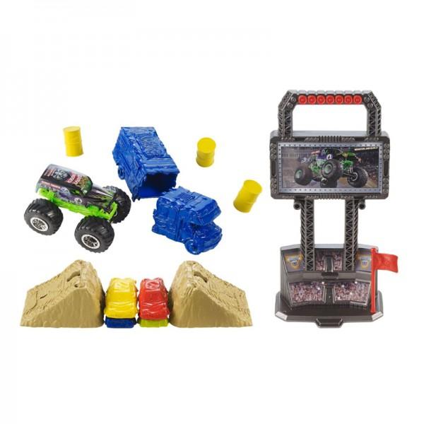 Набор Hot Wheels серии Monster JamИгровой набор «Арена для трюков» от Hot Wheels позволяет построить свою суперарену для соревнований на машинках серии «Monster Jam»!Игры с набором способствую развитию фантазии, конструкторских навыков, логики и мелкой моторики ребенка. Набор легко складывается и раскладывается, а специальная ручка позволяет его удобно переносить.Игровой набор выполнен из безопасных для здоровья детей материалов.В наборе:1 машинка серии Monster Jam масштабом 1:64; преграды: бочки, легковые машины и автобус.<br>