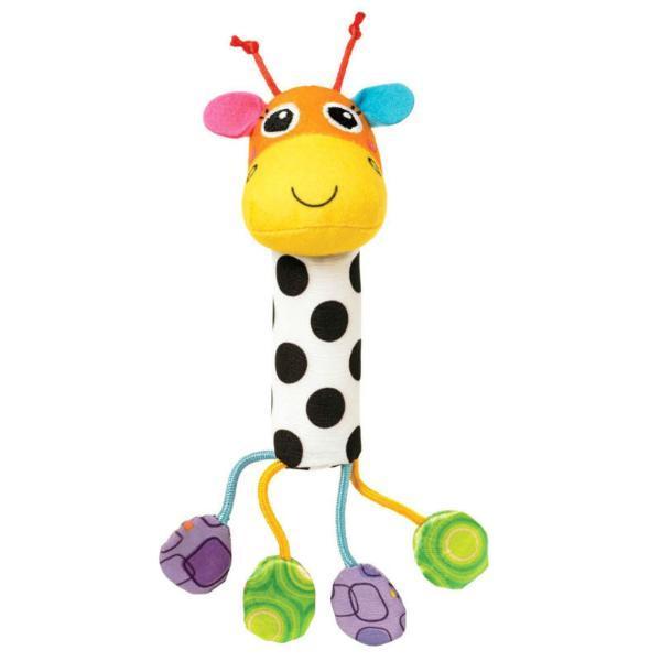 Погремушка Звонкий жирафПлюшевый жираф с яркими цветными элементами и узорами, которые стимулируют зрение ребенка.Игрушка имеет встроенные бубенчики.<br>