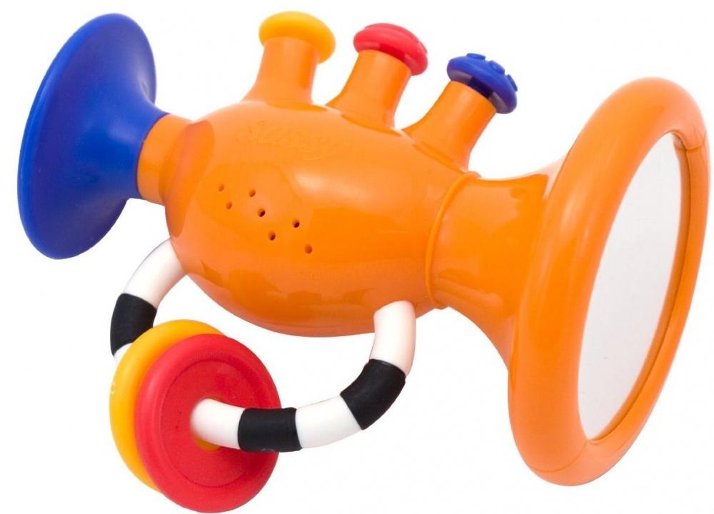 ТрубаПервый музыкальный инструмент Sassy введет ребенка в мир звуков и гармонии. Труба из пластика сделает так, что в игровой форме у ребенка разовьется слух. При нажатии на кнопочки, она воспроизводит красивые звуки. Сбоку есть зеркальце, чтобы улучшалась мимика, соответственно, и эмоциональная сфера. В нижней части, на ручке, прикреплены яркие кольца для массажа пальчиков. Игрушка улучшает у ребенка тактильное восприятие и фантазию.<br>