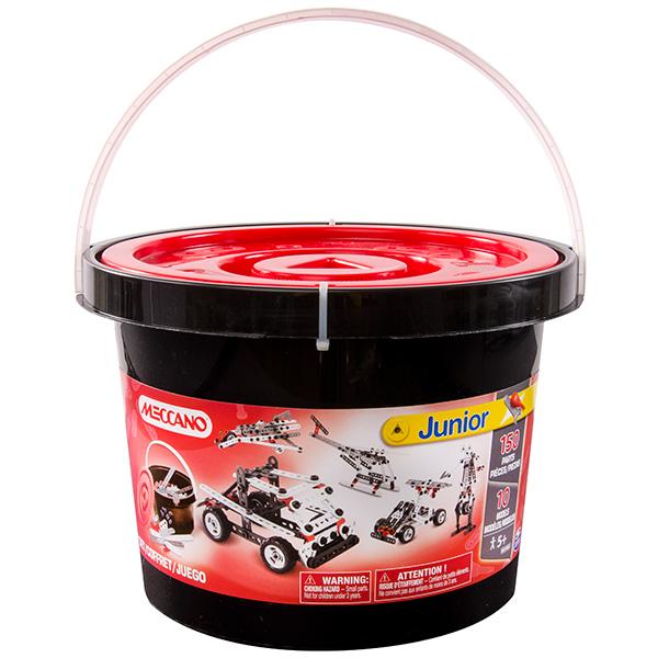 Быстроходный катер (10 моделей)Самый большой набор конструктора из серии Mecanno Junior от Spin Master состоит из 150 деталей белого, чёрного, серого и красного цвета. в комплект входит инструкция, которая позволяет собрать одну из 10 базовых моделей. Все необходимые инструменты: отвёртка с треугольным жалом и гаечный ключ входят в комплект. Вы можете<br>