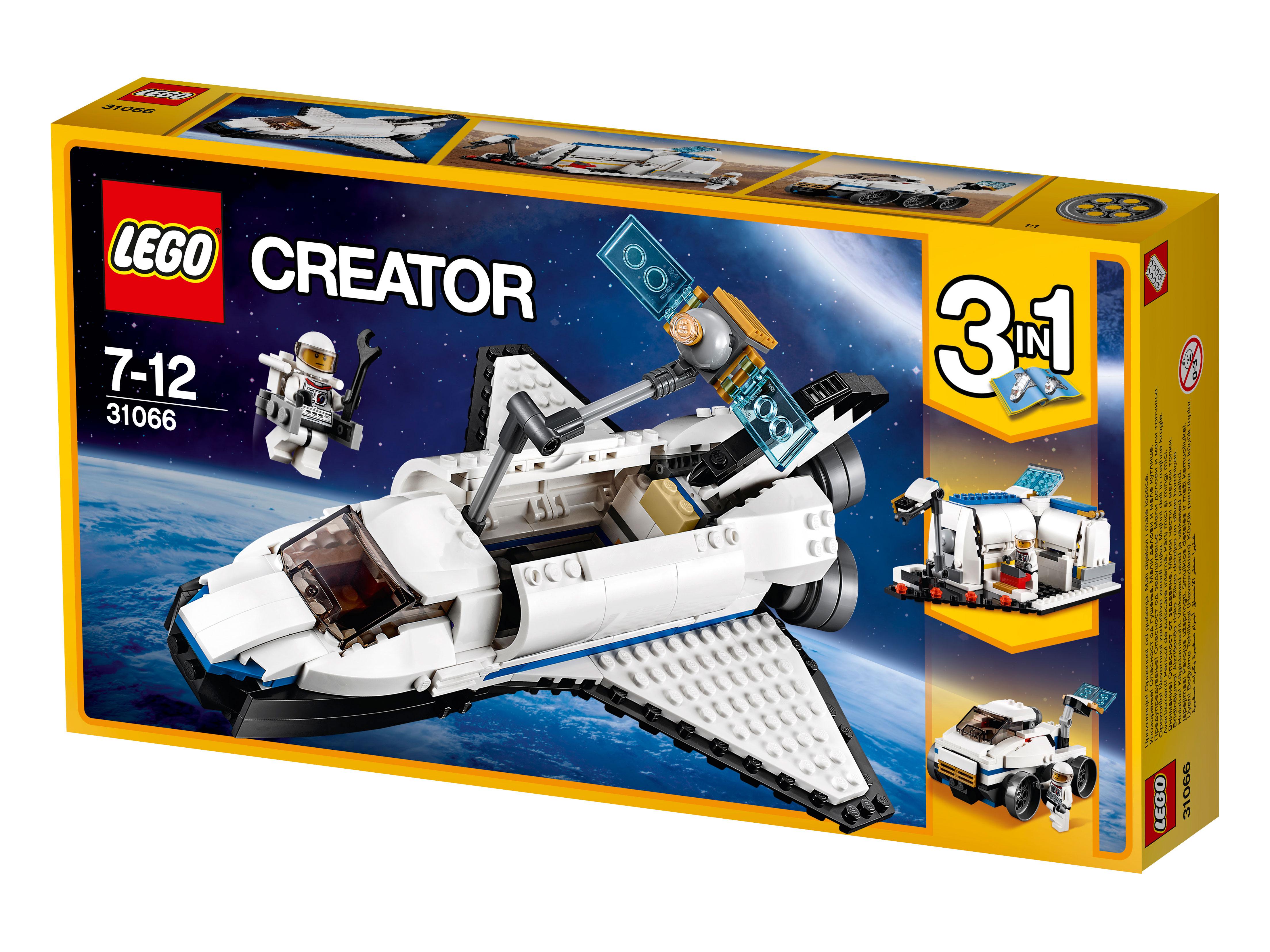 31066 Lego Creator Исследовательский космический шаттлПокорять космос — так интересно, особенно если вам предстоит путешествие к далеким звездам на исследовательском космическом шаттле Лего! Отправляйтесь в дорогу, не выходя из дома и не отпрашиваясь с уроков. Новый космический транспорт от Лего гарантирует массу позитивных эмоций благодаря идеальной схожести с настоящими Шаттлами, которым в скором будущем предстоит покорение ближайших галактик. Вас ждет огромная работа — собрать 285 деталей и разобраться с устройством судна, чтобы научиться с легкостью управлять им на космических виражах. Кабина для мини фигурок — идеальные условия для далекого путешествия. Крылья Шаттла удобно складываются в специальный грузовой отсек, а реактивный ранец позволит совершать прогулки в открытом космосе. А на космической станции вас ждут десятки интереснейших биологических экспериментов, о результатах которых будет говорить весь мир.<br>