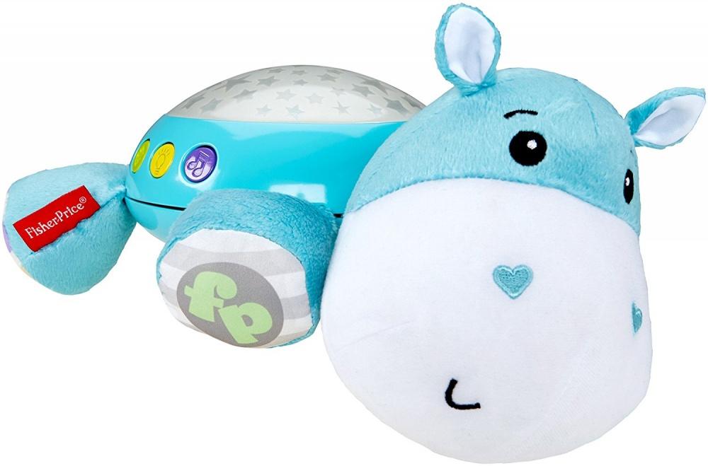 Мягкая игрушка-проектор Бегемотик (звук, свет)Мягкая игрушка-проектор Бегемотик от Fisher-Price оснащена звуковым модулем, позволяющим воспроизводить звуки природы, колыбельные песни и белый шум. Музыкальный проектор выполнен в форме мягкой игрушки, изображающей лежащего бегемота. На спинке бегемотика размещена световая панель, проецирующая на потолок звездочки. Кнопочки, отвечающие за музыкальные эффекты и проекцию, расположены по бокам световой панели.Мягкий проектор можно положить на стол или тумбочку. Малышу будет приятно засыпать под приятные звуки проектора, наблюдая за мерцанием звезд на потолке.<br>