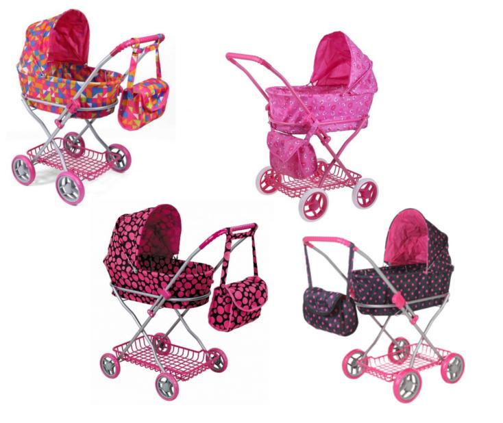 Классическая коляска для кукол с сумкойКоляска для кукол выполнена в классическом стиле и имеет надежный металлический каркас. Защитный капюшон снимается, снизу есть корзина, куда можно сложить игрушки и другие необходимые мелочи. Прорезиненные колеса делают ход коляски практически бесшумным и маневренным. Отличительной особенностью является наличие сумки на ручке коляски, куда можно положить игрушечную бутылочку для пупса, платочки и многое другое. Коляска будет незаменимым аксессуаром в сюжетно-ролевых играх типа дочки-матери.Внимание! Товар представлен в ассортименте без возможности выбора. Рисунок на ткани может варьироваться. Сумка к коляске в комплект не входит.<br>