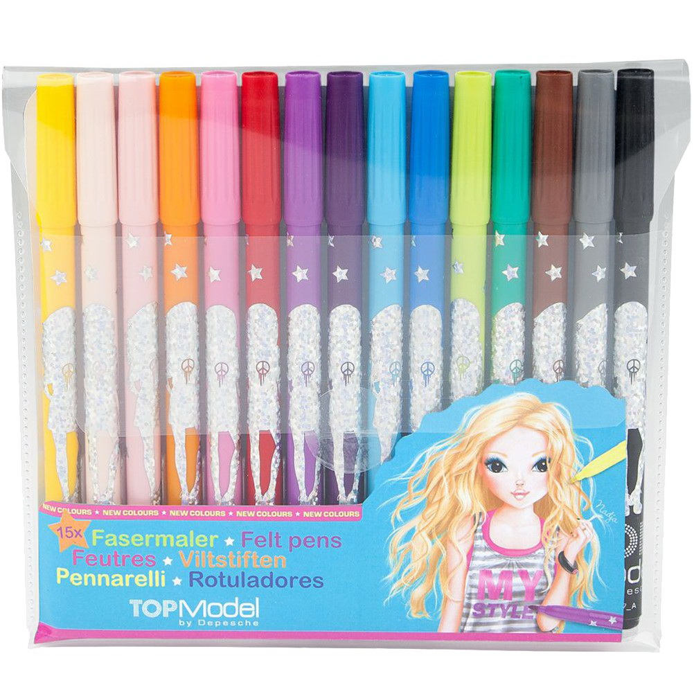 TOPModel Цветные фломастеры, 15 цветов, YouTubeЦветные яркие фломастеры из набора ТопМодел созданы специально для девочек и содержат красивые и необычные оттенки. С ними дети смогут переносить на бумагу любые свои фантазии и создавать красочные рисунки. Особенностью фломастеров является двухсторонняя конструкция с двумя стержнями – толстым и тонким. Это удобно для обрисовывания контура и закрашивания, подходит для рисования и письма. Фломастеры также позволяют смешивать цвета, чтобы получить еще больше оттенков. Цветные фломастеры TOPModel станут отличным подарком для ребенка и поспособствуют развитию творческих сторон личности.<br>
