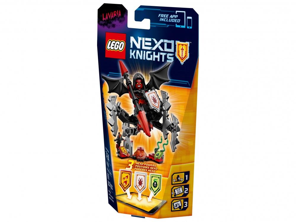 Конструктор Lego Nexo Knights Лавария– Абсолютная силаПоследний из шести NEXO-рыцарей — прекрасная и дикая Лавария Абсолютная сила, тёмная сторона ваших бесконечных приключений. Она обожает тишину и потому крадется в тени, тихо перебирая своими паучьими липкими ногами. Когда враг настигнут, она мощно разрезает воздух крыльями летучей мыши, которые приводят в ужас всех вокруг. Непобедимое оружие — огненное двустороннее копье и змеи, от яда которых нет лекарства — всегда с ней. О мощи и красоте Лаварии ходят легенды, но никто не хочет проверять их достоверность.Лавария легко помещается в ладонь: она будет с тобой в решающие моменты боя. Незаменимый игрок, коварный монстр-шпион в команде красных NEXO-воинов.Вместе с Лаварией тебе достанутся три магических щита: отсканируй их и получишь уникальные цифровые способности, которые помогут одержать победу в битве сильнейших через приложение LEGO NEXO KNIGHTS™. Ты в одном шаге от получения новых сил: Атака Жуков, Испепеление и Ядовитая Атака.<br>