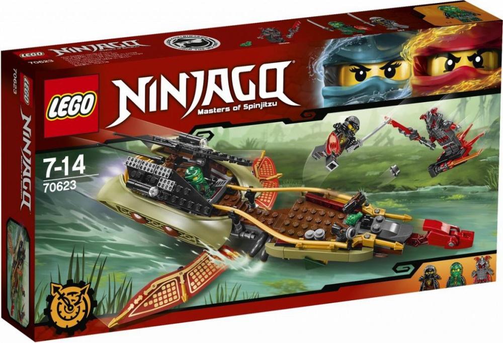 Конструктор Lego Ninjago  Тень судьбыВместе с Ллойдом и Коулом отправляйся на катере/летательном аппарате на территорию Алой армии. Стреляй из шипованных шутеров, чтобы отразить атаки Вермина на ховерборде или разворачивай крылья и взлетай в небо. Потом спусти на воду каноэ и незаметно подкрадись к врагу по болоту. Куда бы ты ни направлялся, помни: Клинок, останавливающий время, всегда должен быть в руках у ниндзя.Информация о набореАртикул: 70623Производитель: LEGOКол-во деталей: 360Фигурок: 3Год выпуска: 2017<br>