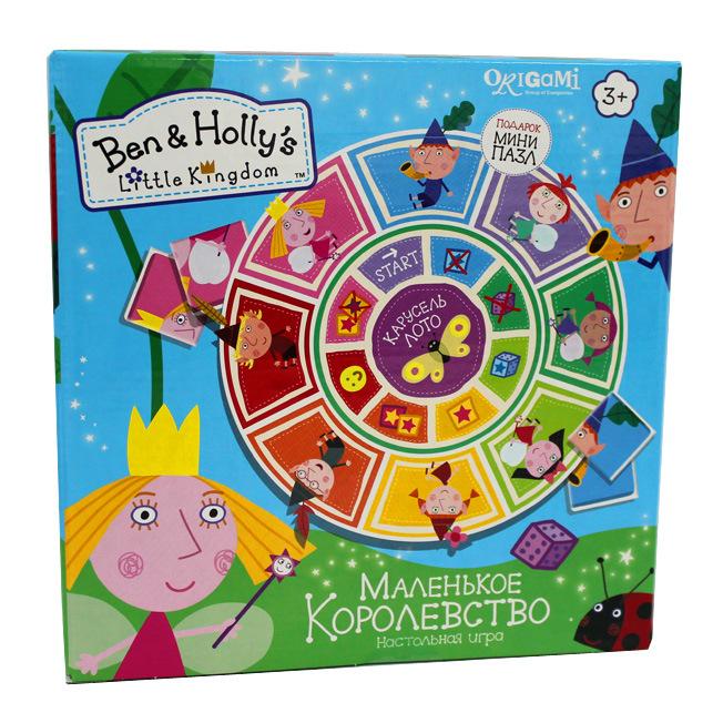 Ben &amp; Holly Настольная игра Карусель-Лото Маленькое королевство + пазлХолли и Бен ждут вас в Маленьком королевстве! Вместе с феей и эльфом ваш малыш исследует все уголки королевства в новой волшебной игре Карусель-Лото! Игрокам предстоит собрать картинку из четырех частей, и, главное, - быстрее остальных. Собирать несложно - поможет игровой кубик и немного удачи. Карусель-лото - игра для веселого семейного вечера, которая поможет объяснить детям понятие «часть и целое» и разнообразит досуг с ребенком. Удачи в игре!<br>