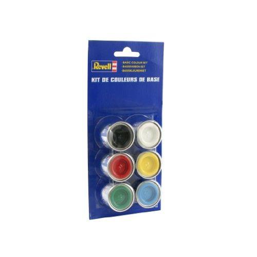 Базовый набор красокБазовый набор красок включает в себя основные цвета, смешивая которые можно получать практически бесконечное количество цветов и оттенков. В упаковке находятся баночки с желтым, красным, синим и зеленым цветом, а также баночка с черным цветом и белилами. Краски Revell отлично смешиваются между собой и ровно ложатся на пластик, поэтому можно смело создавать собственные цвета, не боясь испортить модель.Возраст: от 10 летДля мальчиковКомплектация: 6 красок.<br>