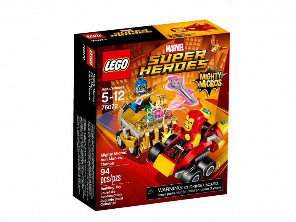 Конструктор Lego Super Heroes Mighty Micros: Железный человек против ТаносаНаправь супер-скоростной автомобиль Железного человека с ракетным двигателем в сторону Таноса, и разорви его машину на две части клешнёй-тисками! Срази Таноса, прежде чем он успеет воспользоваться супер-силой своей Перчатки неуязвимости и станет победителем в этом поединке.Информация о набореАртикул: 76072Производитель: LEGOКол-во деталей: 94Фигурок: 2Год выпуска: 2017<br>