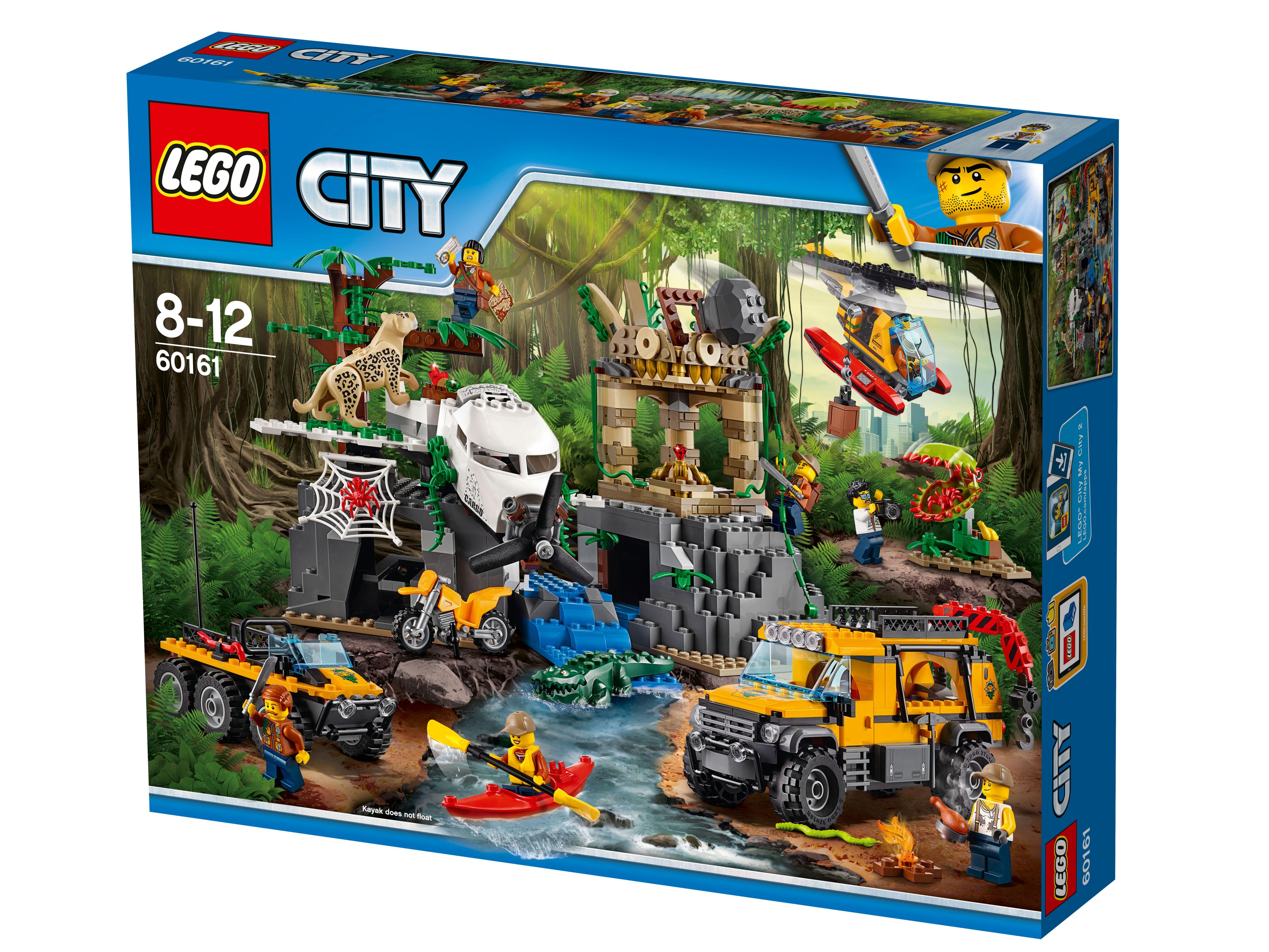 База исследователей джунглейНайди в джунглях LEGO® City пропавший самолёт! Проведи расследование таинственной катастрофы, разбей лагерь, а затем отправляйся на каяке исследовать храм, расположенный ниже по течению реки. Будь начеку: вокруг много диких животных и ловушек, скрытых в джунглях и древних руинах. Осторожно, не трогай лианы: в джунглях LEGO City ловушки поджидают тебя на каждом шагу!<br>