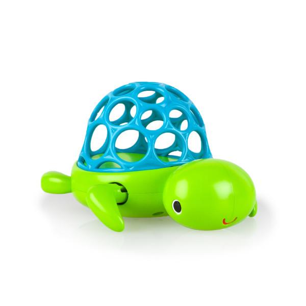 Игрушка для ванны «Черепашка»Заведи черепашку и она поплывет!ОсобенностиПанцирь черепашки сделан в виде мячика Oball: он мягкий и не поранит ребенка во время купанияЧерепашку можно завести с помощью передних лапок - она поплыветВода легко выливается через отверстия панциряУдобно держать маленькими ручкамиДополнительные характеристикиНе содержит вредных веществРазмер товара: 13,5 х 9 х 9 смРазмер коробки: 13 х 10 х 14 см<br>