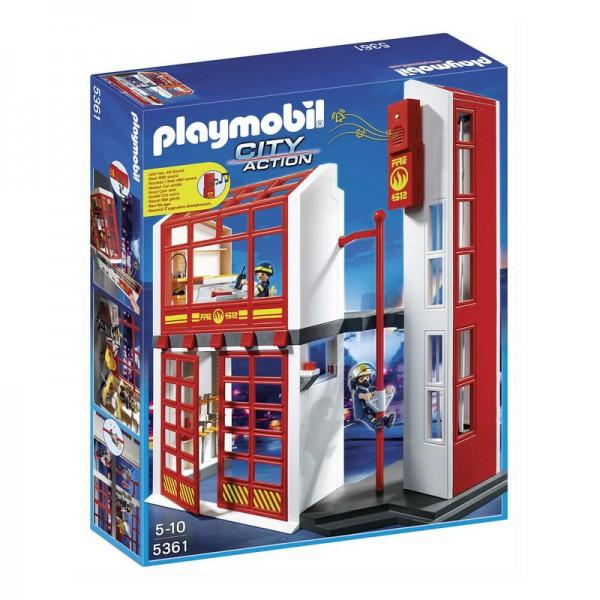 Набор Playmobil Пожарная станция с сигнализациейНабор Playmobil «Пожарная станция с сигнализацией» станет отличным подарком для каждого ребенка!Станция представляет из себя двухэтажное здание, в котором пажарные ожидают очередного вызова. На втором этаже башни располагается командный пункт.Дежурный диспетчер строго следит за безопасностью в городе, и как только получает сигнал тревоги, тут же включает сигнализацию. Когда звучит сигнал, пожарные спускаются из комнаты, расположенной на втором этаже, по специальному столбу.Все элементы набора изготовлены из высококачественной пластмассы.Игра с набором способствует развитию мелкой моторики рук, воображения, внимания и концентрации.<br>