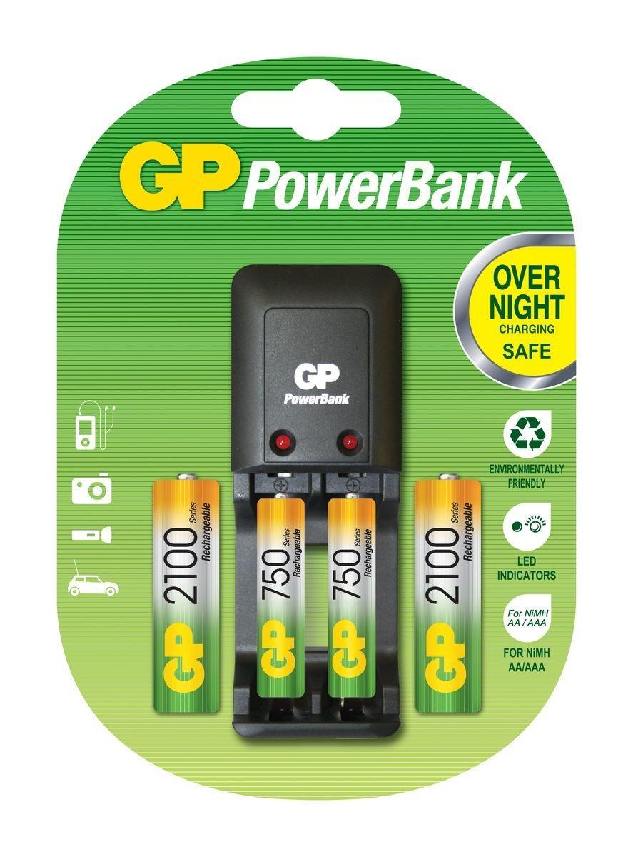 Зарядное устройство для аккумуляторов GP Batteries + 2 АА + 2 АААПростое в использовании зарядное устройство GP Batteries предназначено для зарядки никель-металлогидридных аккумуляторов. Два независимых канала позволяют заряжать 2 аккумулятора типа AA или AAA одновременно. Светодиодные индикаторы показывают уровень зарядки батарей. В устройстве предусмотрена автоматическая защита от перегрузки и перегрева. В комплект входят: 2 аккумулятора типа AA (2100 mAh) и 2 аккумулятора типа AAA (750 mAh).<br>