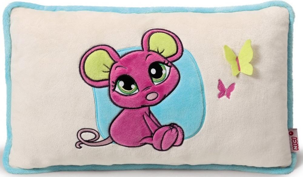 Детская подушка Мышка розоваяПодушка Мышка розовая из коллекции «Влюбленные сердца» немецкого бренда Nici поражает невероятной точностью каждой детали. Вышивка с изображением очаровательного розового мышонка способна привлечь внимание малыша, а желтая бабочка, крылья которой он сможет потрогать, поможет развить ему тактильное восприятие. Она удивительно мягкая на ощупь, легко стирается и способна надолго сохранить свою форму и цвет. Подушка станет оригинальным украшением детской комнаты и придаст ей особенный стиль.<br>