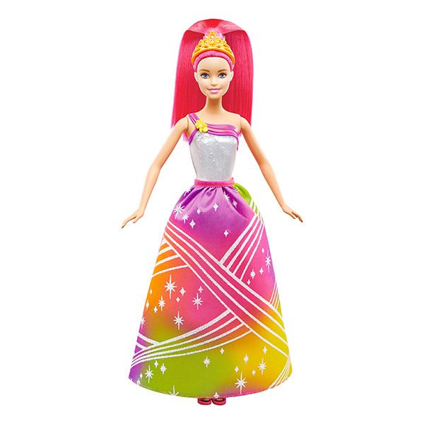 BRB Радужная принцесса с волшебными волосамиКукла Барби - отличный подарок для девочки на любой праздник! Эта длинноволосая красавица оживает со звуками музыки - нажми на кнопку, расположенную на корсете куклы, чтобы активировать световые и звуковые эффекты! Можно выбрать 7 сочетаний музыки с подсветкой, в зависимости от настроения. У Барби длинные, густые волосы ярко-розового цвета, которые можно расчесывать и укладывать в разнообразные прически. В комплекте прилагаются съемные туфельки и тиара.<br>