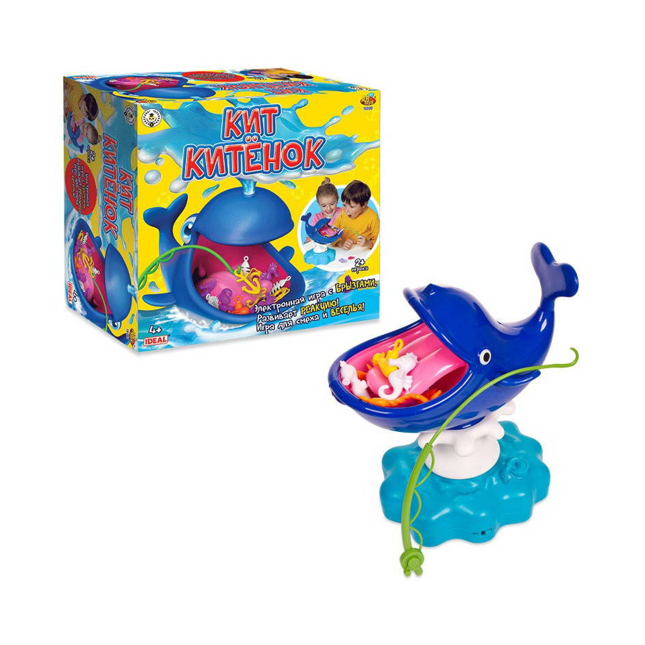Кит Китенок, эл/мех, с аксессуарами в комплекте, в коробкеНастольная интерактивная игра Кит-китенок с аксессуарами, представленный компанией ABtoys, - это забавная интерактивная игрушка в виде кита, во рту которого находятся различные предметы. Ребенку необходимо будет удочкой достать все мелочи из его рта, не дотронувшись до языка. Если малыш случайно заденет язык, то кит забрызгает его водой.С такой игрушкой можно играть как одному, так и в компании друзей. Можно устроить соревнования и победителем в игре останется тот, кто вытащит больше предметов и останется сухим.<br>