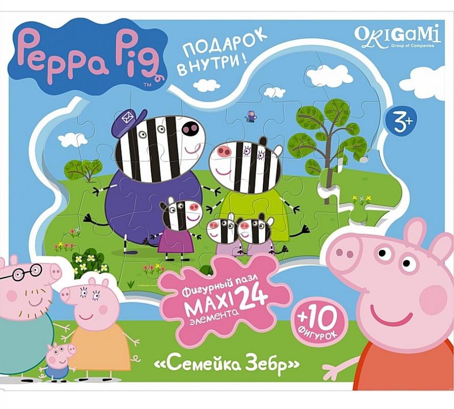 Peppa Pig Пазл Супер-макси, 24 детали, контурный+магниты+подставки. Семья зебр 01539Контурный пазл имеет нестандартную (фигурную) форму. Данный пазл Peppa Pig пригоден не только для сборки. Магнитики и подставка позволяют включить собранную мозаику в игровой процесс. Если собрать Семью Зебр, Семью Слонов и другие пазлы из этой серии, то с фигурка Пеппы Пиг сможет ходить в гости к своим друзьям.<br>