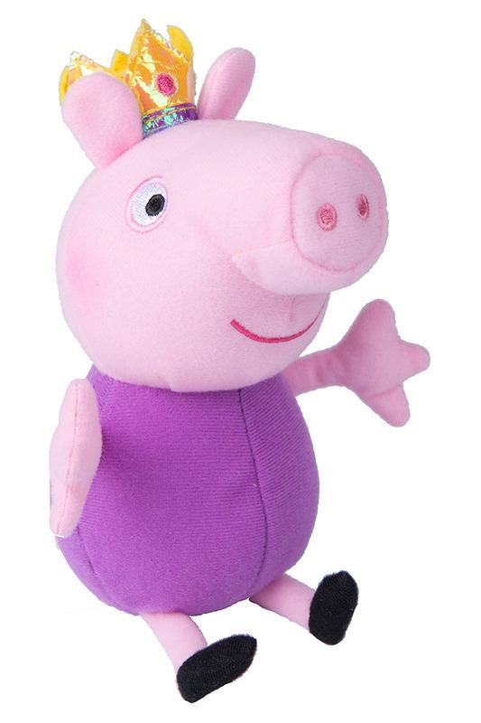 Мяг.игр Джордж принц 20 см т.м. Peppa PigЧудесная мягкая игрушка Джордж-принц станет вашему малышу отличным другом. С любимым героем мультфильма необыкновенно весело играть, его легко можно брать с собой в садик или в гости. Сны в обнимку с забавным плюшевым другом станут гораздо слаще и красочней. Если приобрести других персонажей из серии Peppa Pig, то ваш малыш оживит приключения своих любимых героев прямо у вас дома. Мягкая игрушка Джордж-принц ТМ Свинка Пеппа высотой 20 см (размер указан с ножками) качественно сшита из мягкого, приятного на ощупь плюша, плотно набита. Глазки, носик и ротик вышиты. Корона выполнена из фетра и блестящего материала.<br>
