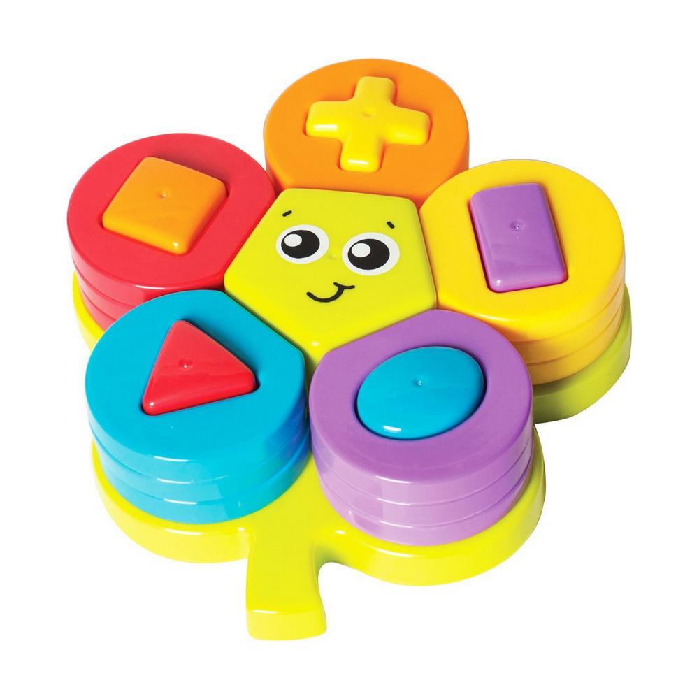Playgro Сортер 6385461Сортер Playgro Цветок - основание сортера представляет собой лист с отверстиями разной формы. Самое большое, в форме пятиугольника, расположено в середине и в него вставляется только одна фигура. Остальные 5 отверстий в форме квадрата, прямоугольника, треугольника, овала и крестика. В них вставляются фигуры соответствующей формы, которые играют роль столбиков для нанизывания колечек. Малышу необходимо правильно подобрать колечко, чтобы его прорезь соответствовала форме столбика. Способствует развитию визуального восприятия, тактильных ощущений, моторики, координации, зрения, когнитивных навыков. Можно в игровой форме изучать цвета и формы.<br>