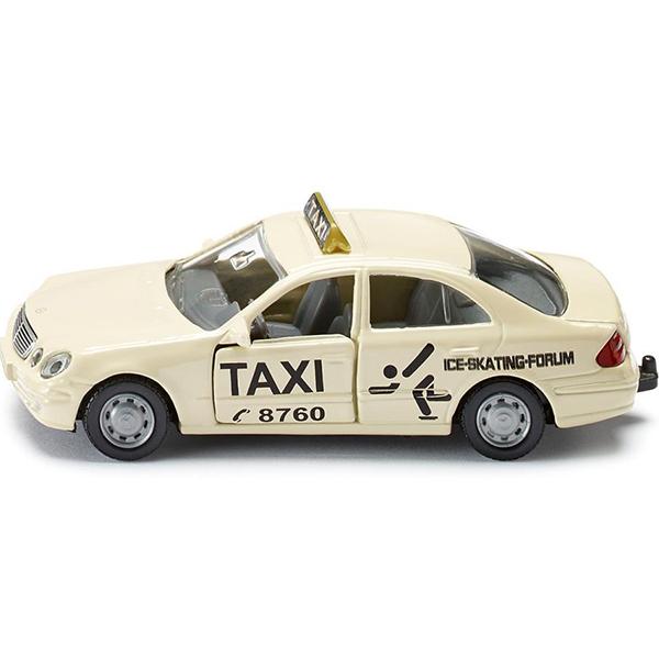 ТаксиИгрушечная модель такси, корпус выполнен из металла, передние двери открываются, лобовое, заднее и боковые стёкла из прозрачной пластмассы, колёса выполнены из резины и вращаются, можно катать. Сзади есть сцепное устройство, можно использовать с прицепом SIKU 1020.Размер упаковки: 98 x 78 мм<br>