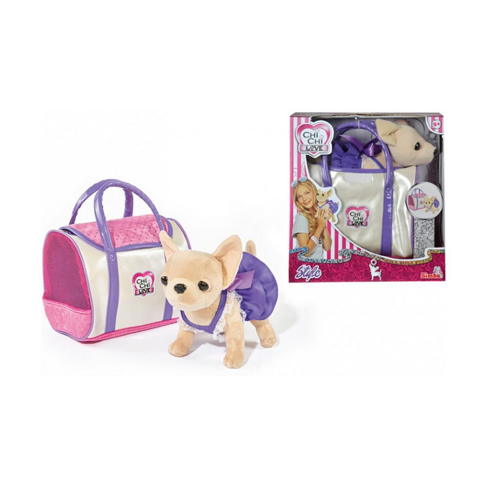 Купить Плюшевая собачка Чихуахуа в платье, с сумкой, 20 см