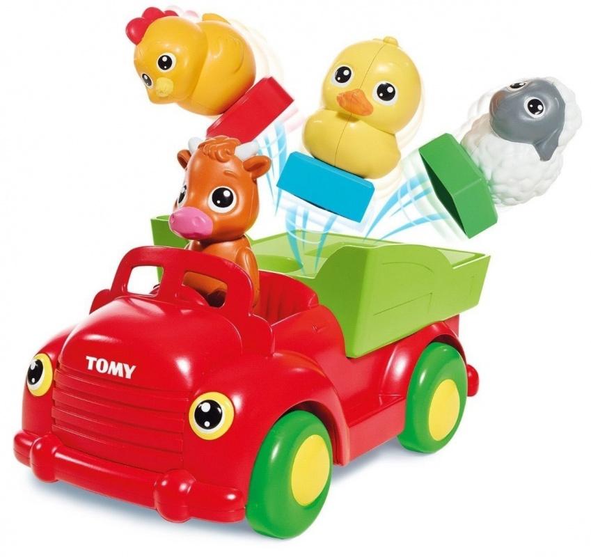 Сортер Tomy Весёлая фермаСортер Веселая ферма от бренда Tomy - это забавная игрушка для малышей в виде грузовичка с домашними животными. За рулем сидит теленок, в кузове едут утенок, цыпленок и овечка. Кузов грузовичка представляет собой сортер с отверстиями разной формы, к которым подходят подставки фигурок.Если ребенок все сделает правильно - каждое животное издаст характерный для него звук. При нажатии на теленка, грузовичок приходит в движение под аккомпанемент веселой мелодии. После того, как он остановится - зверушки выпрыгнут из кузова в разные стороны, что, несомненно, приведет малыша в восторг.<br>