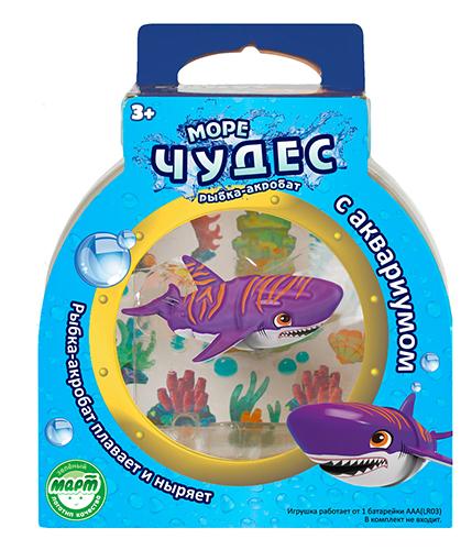 Набор Акула-Акробат Тайгер с АквариумомВ наборе рыбка- акробат длиной 9 см. Плавает за счет микро-моторчика в хвосте.Траектория движения зависит от наклона хвоста.Рыбка плывёт, ныряя на глубину и поднимаясь к поверхности воды.В набор е входит пластиковый аквариум16 х 16 х 10 см.Требуется 1 батарейка ААА (в комплект не входит).<br>
