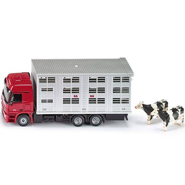 Тягач с прицепом для скота (1:50)Металлическая модель - тягач с прицепом для скота.Размер игрушки: 19.2 х 5.5 х 8.5 см<br>