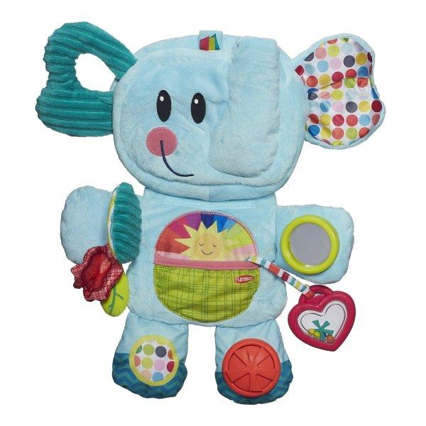 PR ВЕСЁЛЫЙ СЛОНИКЗамечательная развивающая игрушка для деток в возрасте от 3 месяцев и старше, выполненная в виде забавного и очень симпатичного слоника. Слоник изготовлен из материалов разных текстур и цветов, что позволяет разнообразить тактильные, звуковые и визуальные ощущения ребенка, развивать ловкость пальчиков и логическое мышление. Игрушка имеет шуршащие и гремящие элементы, прорезыватель для зубок и маленькое безопасное зеркальце.Как и все игрушки Плэйскул серии «Возьми с собой», слоник складывается в несколько раз, уменьшаясь в размере до 3 раз, поэтому игрушку удобно брать с собой в гости или в путешествие.Все материалы, использованные при изготовлении игрушки, совершенно безопасны для детского здоровья.<br>