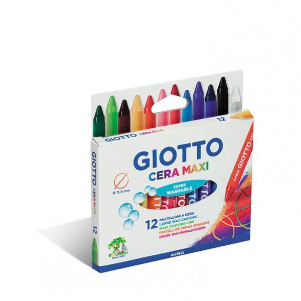 Восковые карандаши GIOTTO CERA MAXI утолщенные, 12 цветовВосковые карандаши GIOTTO CERA MAXI  утолщенные, предназначены для рисования по бумаге и картону.Они изготовлены из растительных ингредиентов с использованием натуральных пигментов. Восковые карандаши отлично передают цвета и имеют широкую гамму оттенков.Рисование развивает мелкую моторику, внимание, аккуратность, усидчивость и эстетический вкус. Без запаха, не токсичны, не вызывают аллергии. Хорошо смываются с рук и отстирываются с большинства видов ткани. Толщина мелка: 11,5 мм. Длина: 100 мм.В упаковке: 12 карандашей.<br>